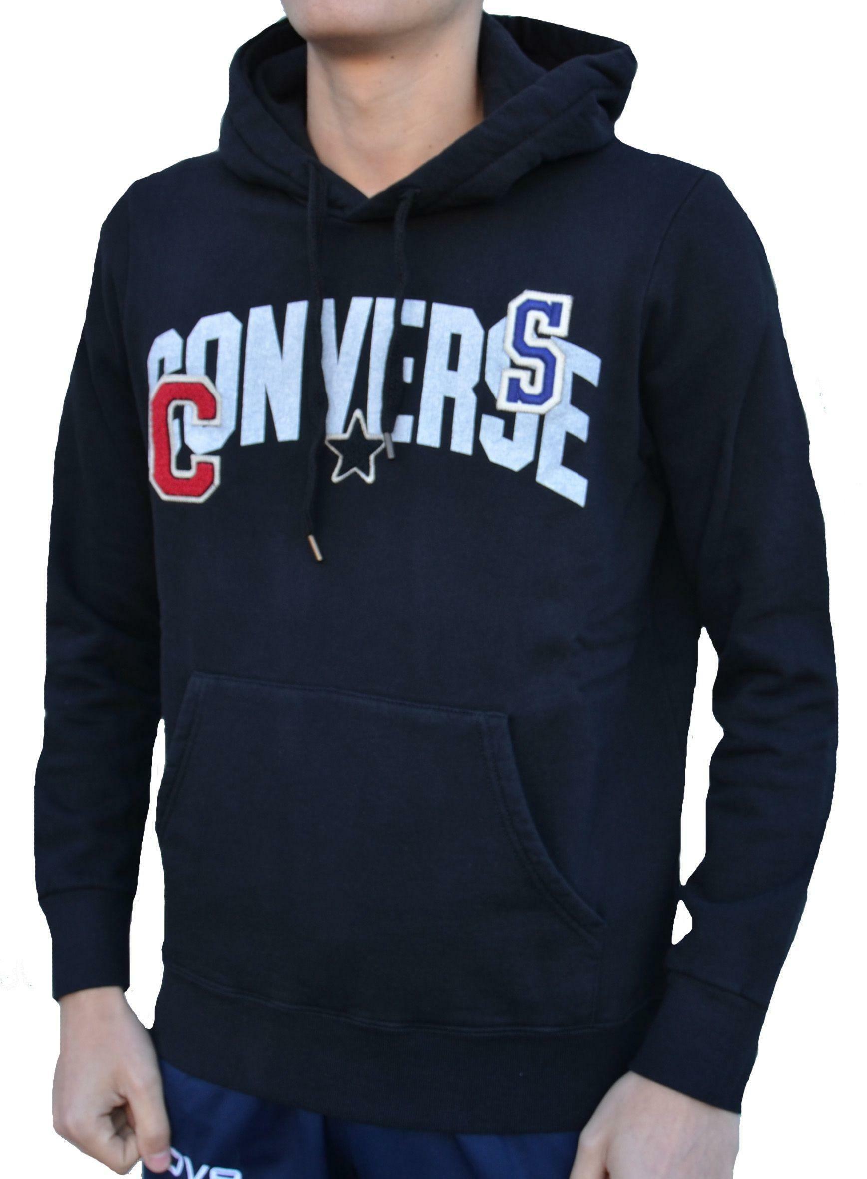 converse converse fleece felpa logo patches cotone felpato uomo nera