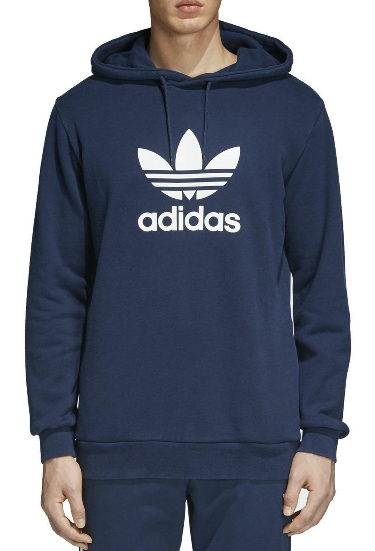 adidas adidas original trefoil hoodie felpa uomo blu cx1900