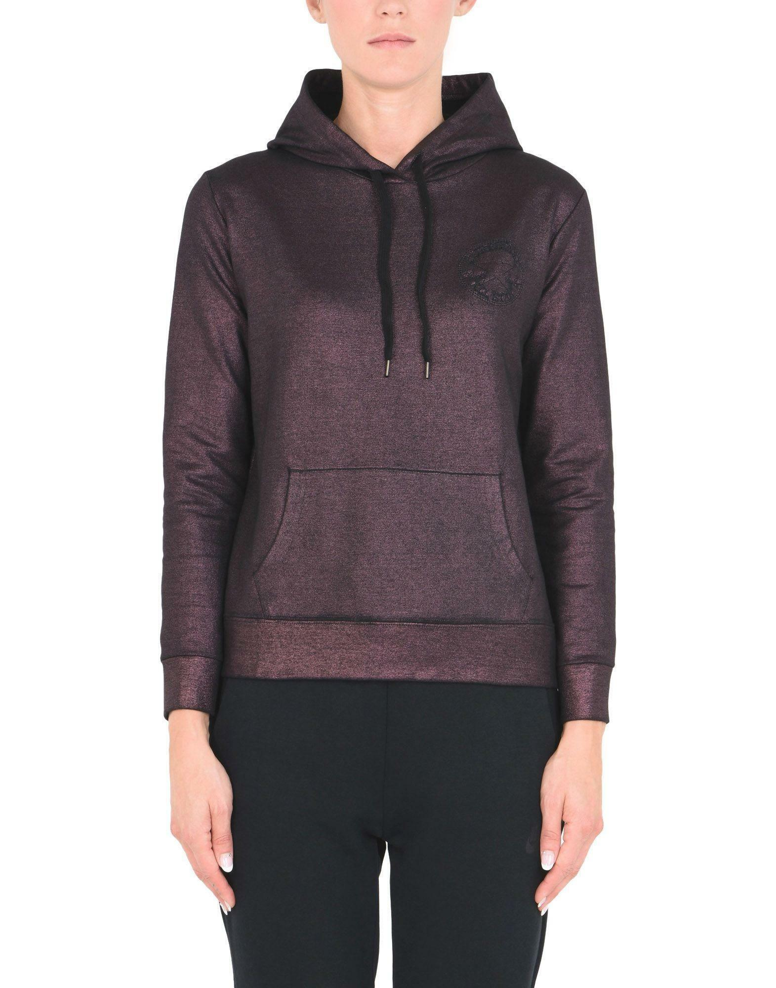 converse converse fleece hood sweater ct metal felpa donna bordeaux