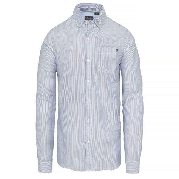 timberland timberland wellfleeet striped oxford shirt uomo azzurro