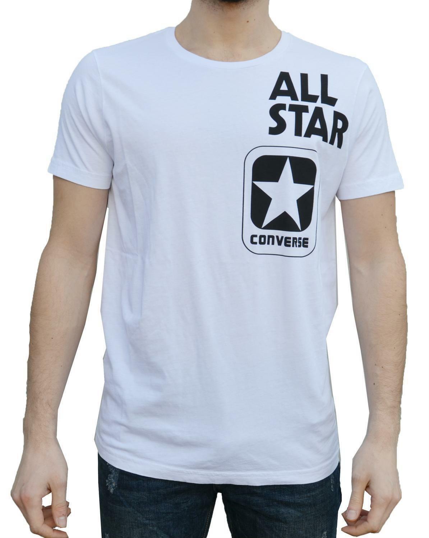 converse converse t-shirt uomo bianca logo 7300-a01