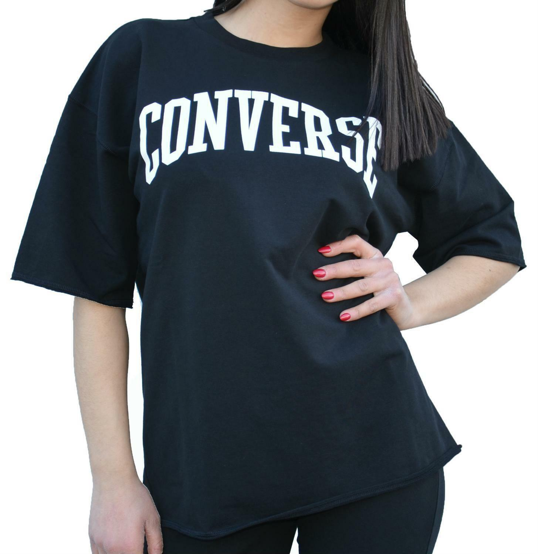 converse converse felpa oversized maniche corte donna nera 7428a05