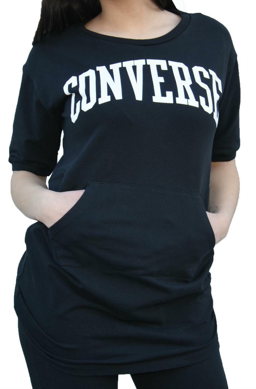 converse converse felpa maniche corte donna nera 7577a05