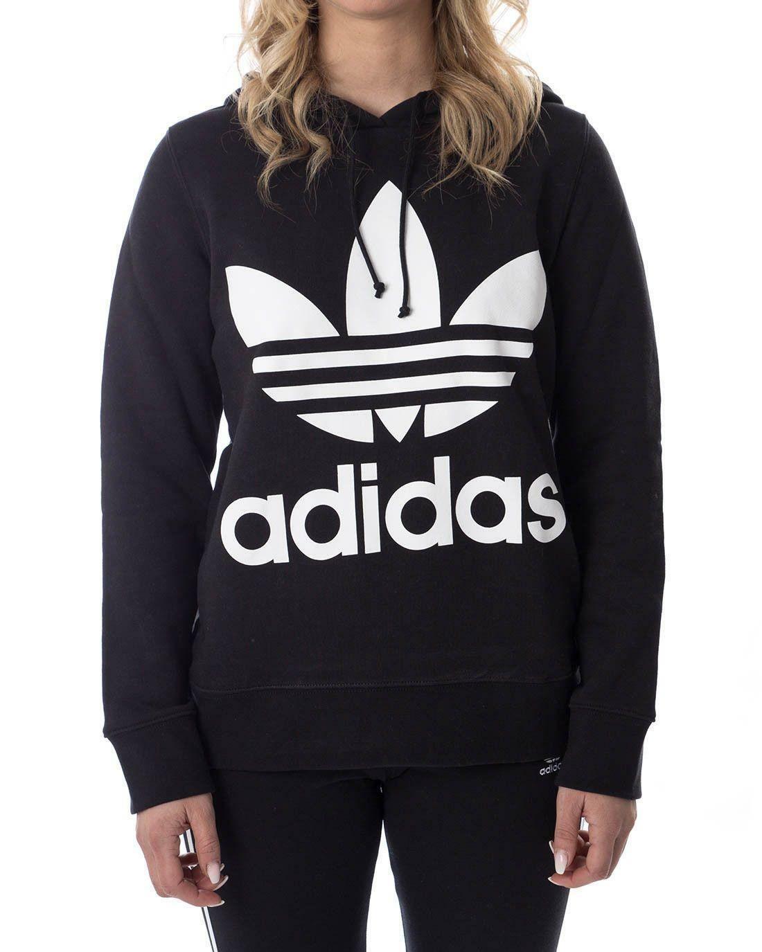 adidas adidas trefoil hoodie felpa donna cappuccio nera