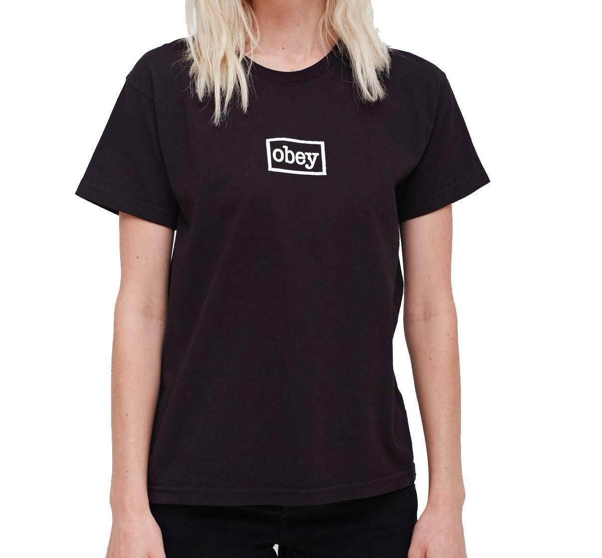 obey obey typewriter t-shirt donna nera 266851266blk