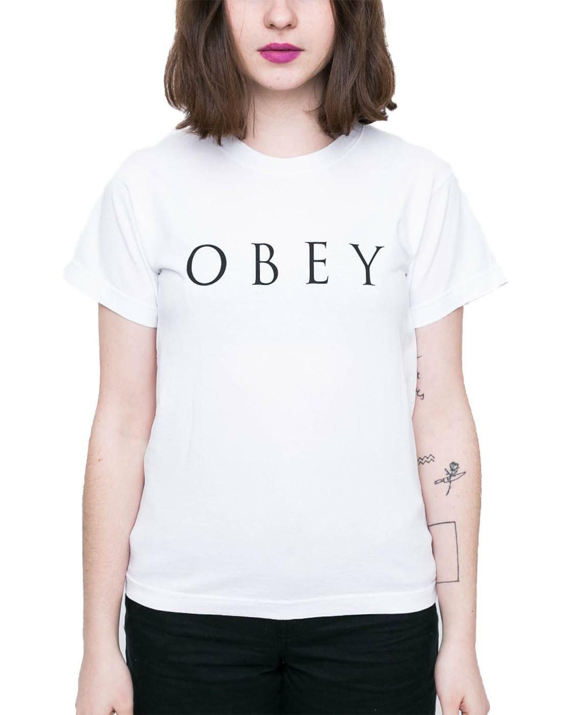 obey obey novel t-shirt donna bianca 266851274wht