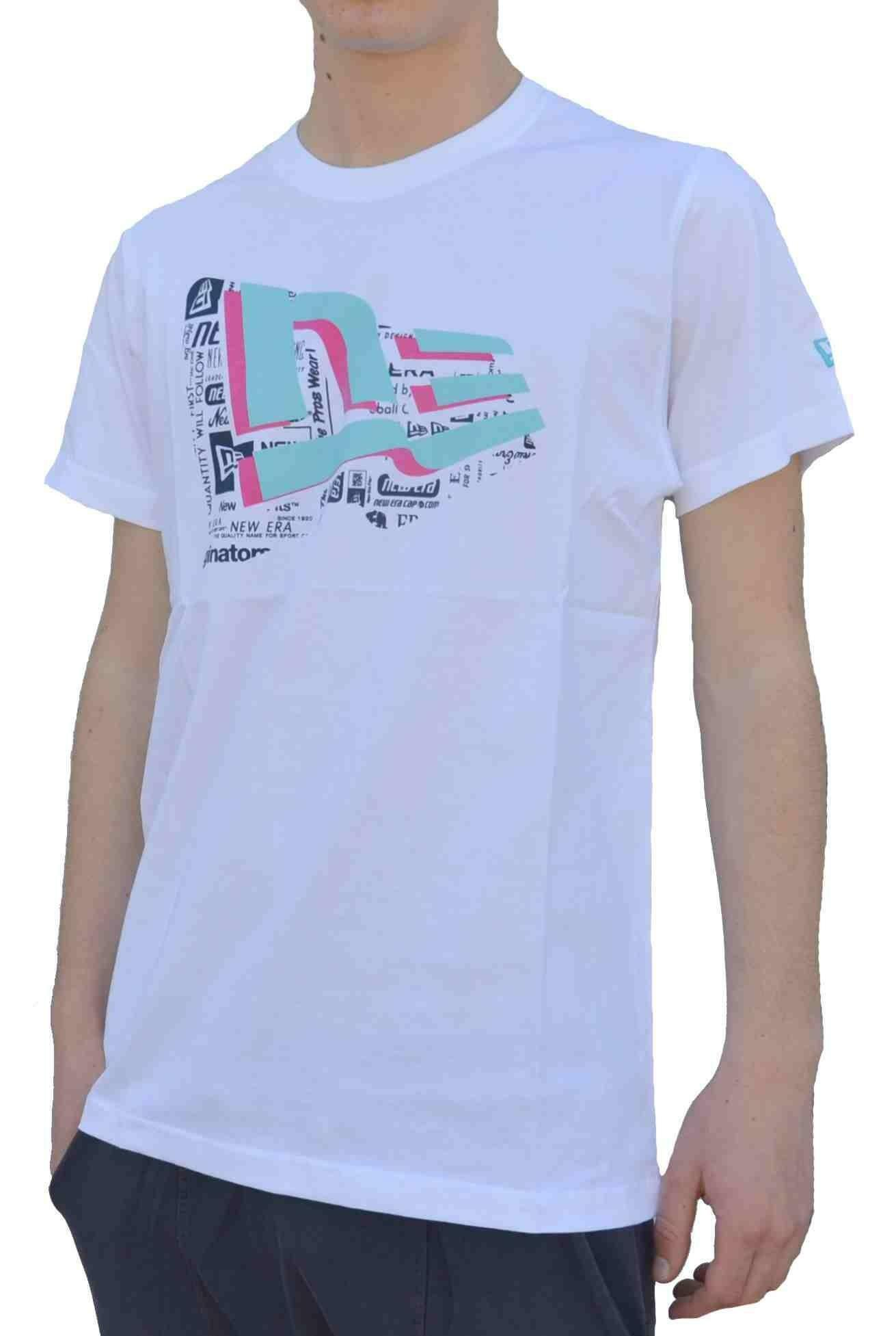 new era flag story t-shirt uomo bianca