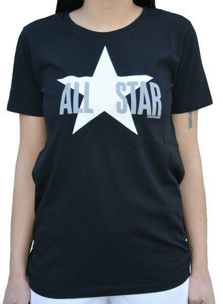 converse converse all star logo t-shirt donna nera 7387a01