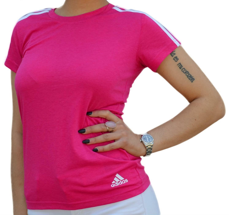 adidas adidas ess 3s slim tee t-shirt donna fucsia cz5781