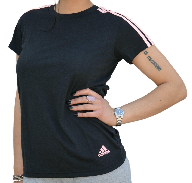adidas adidas ess 3s slim tee t-shirt donna nera di0117