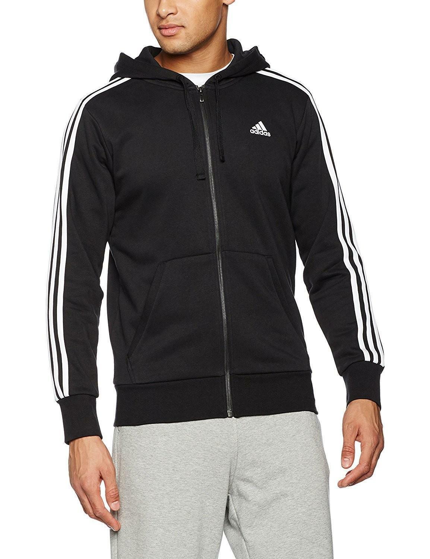 adidas adidas felpa con cappuccio essentials 3 stripes uomo nera s98786