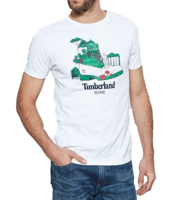 timberland timberland kennebec destination rome t-shirt uomo bianca