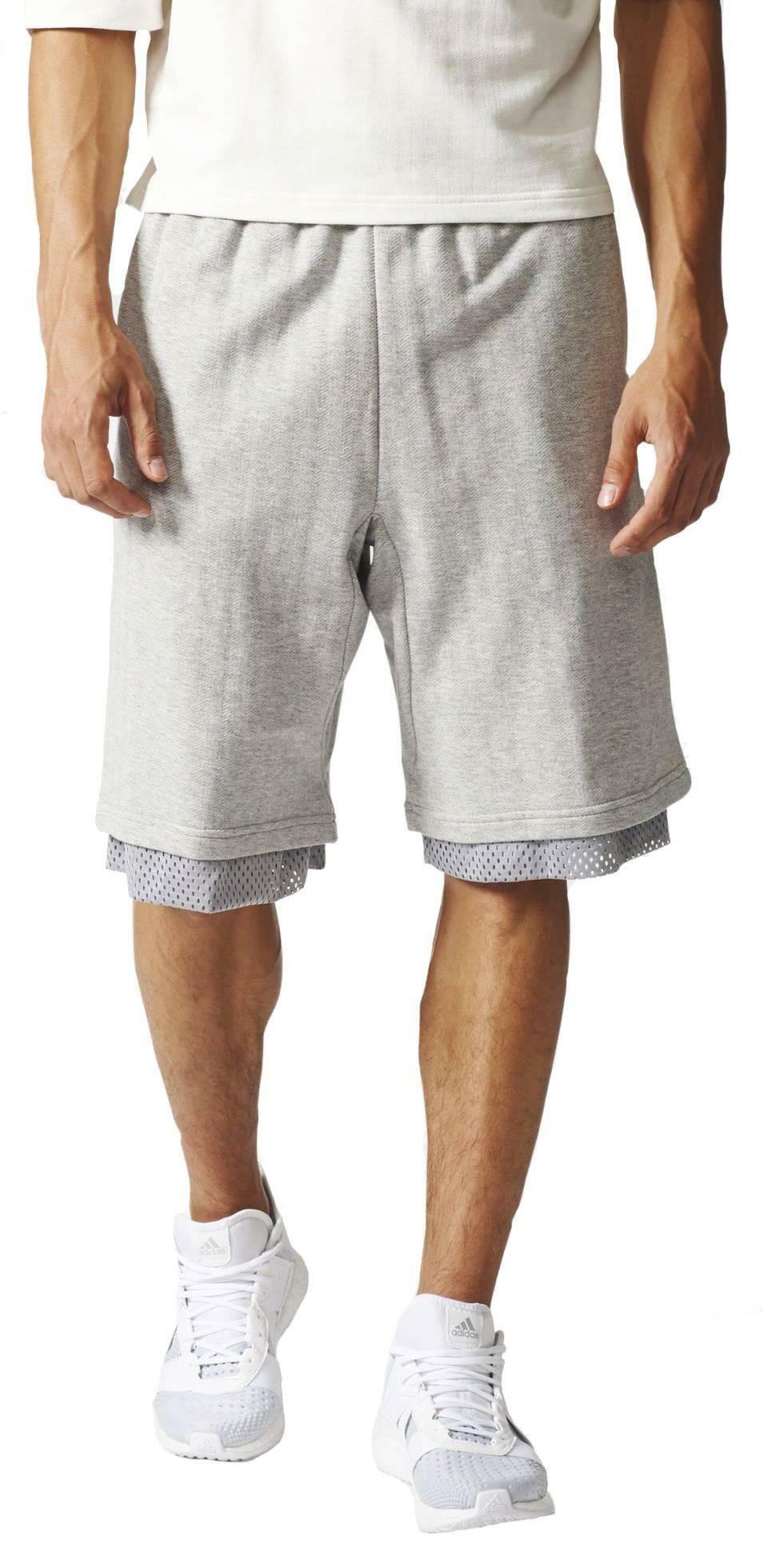 adidas adidas winner stay short pantaloncini grigi uomo reversibili bk7796