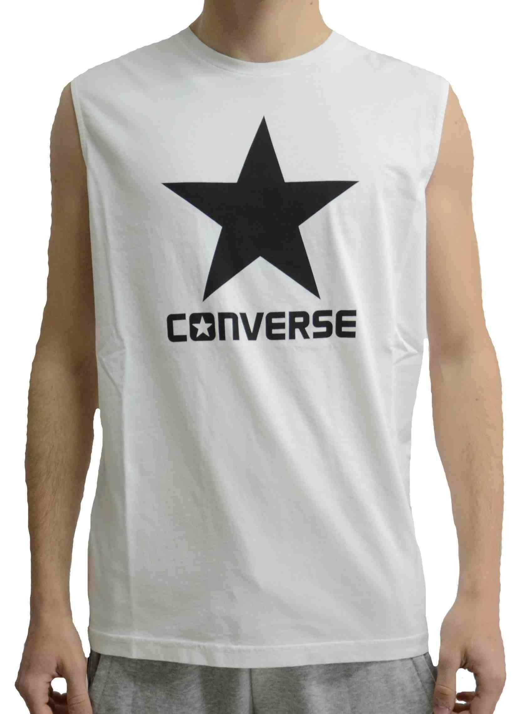 converse converse crew logo canotta uomo bianca