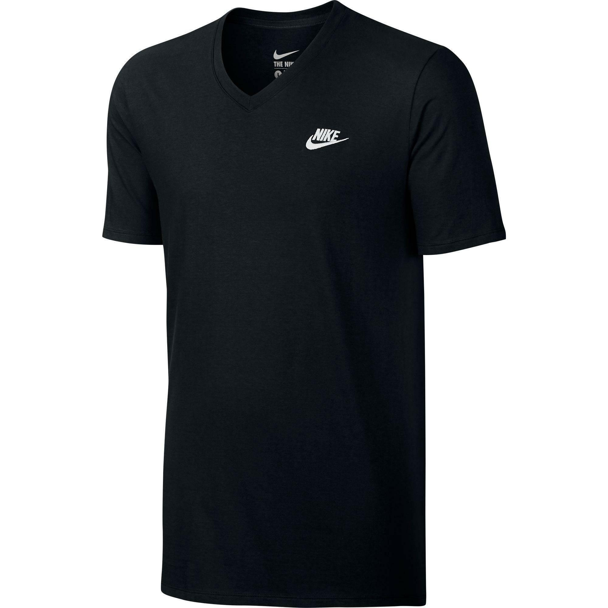 nike nike men's v-neck club embroidered swoosh t-shirt uomo cotone nera