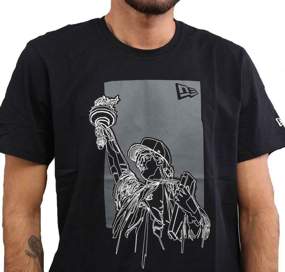 new era new era new york statue tee t-shirt uomo nera