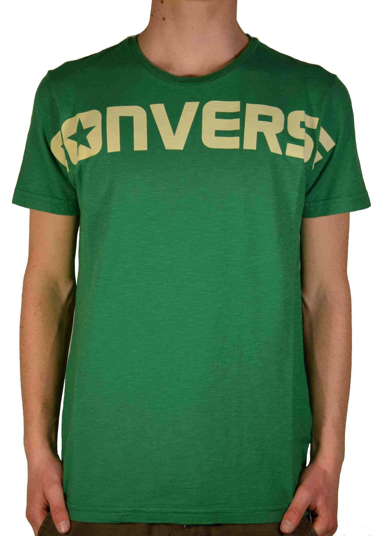 converse converse ss crew logo heritage t-shirt uomo verde 10004989