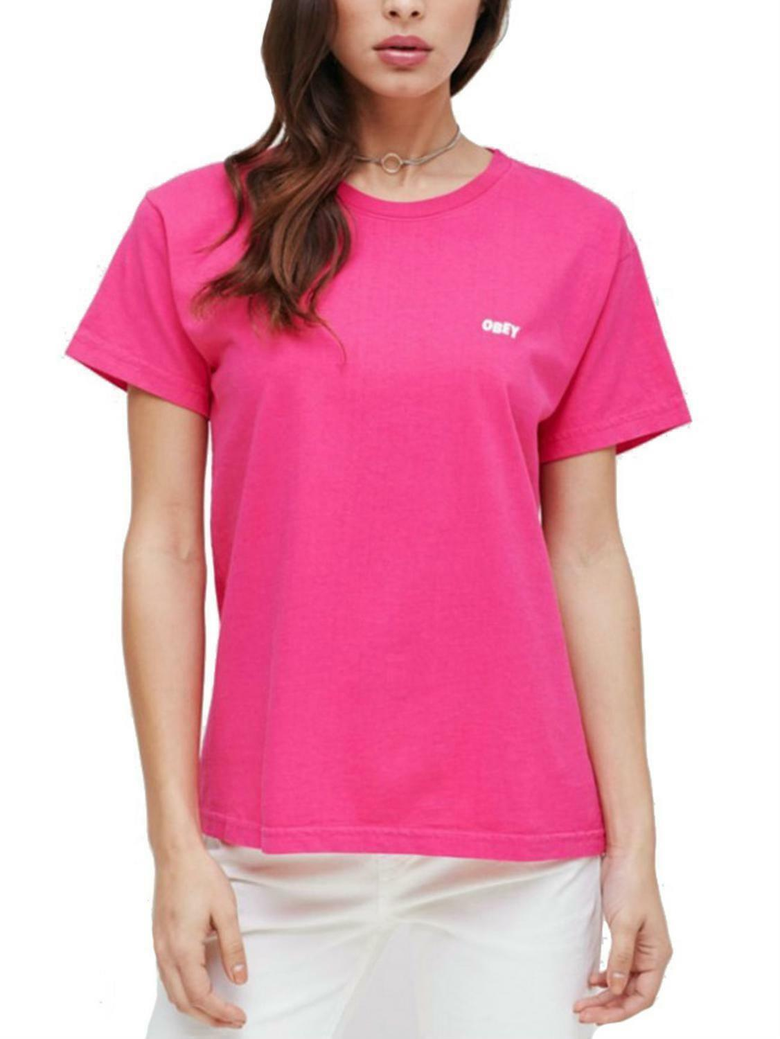 obey obey jumble lo t-shirt donna fuxia 22118w123