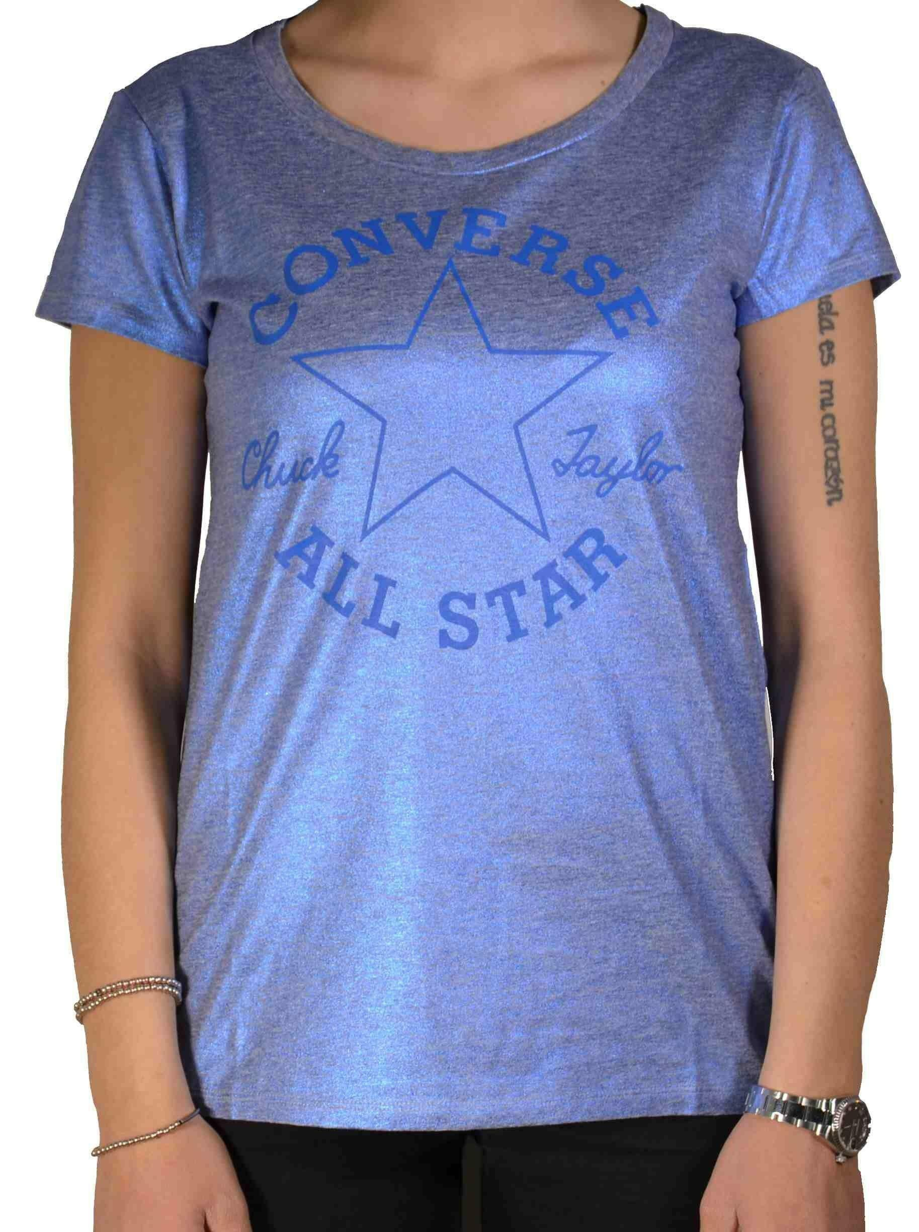 converse ss ct metallic t-shirt donna blu