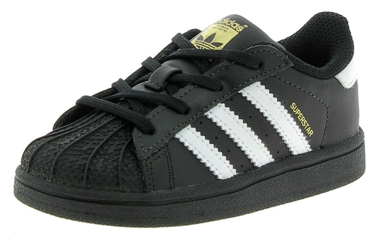 Dettagli su Adidas Superstar I Scarpe Sportive Pelle Nere Bambinoa