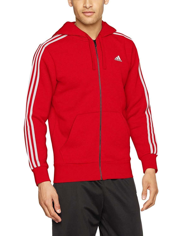 adidas adidas ess 3s fz b felpa con cappuccio zip uomo rossa cz7357