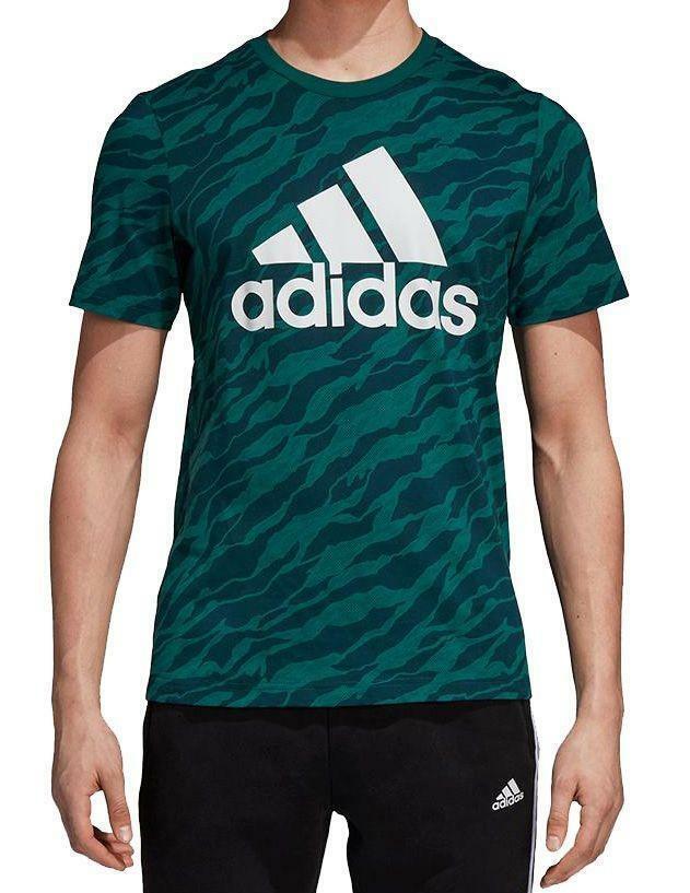 adidas adidas ess aop t-shirt uomo verde cz9083