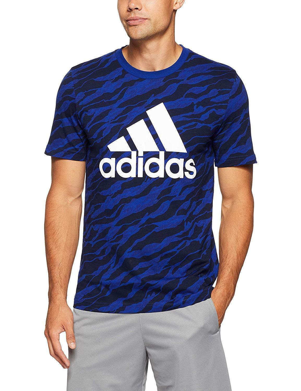 adidas adidas ess aop t-shirt  uomo blu cz9082