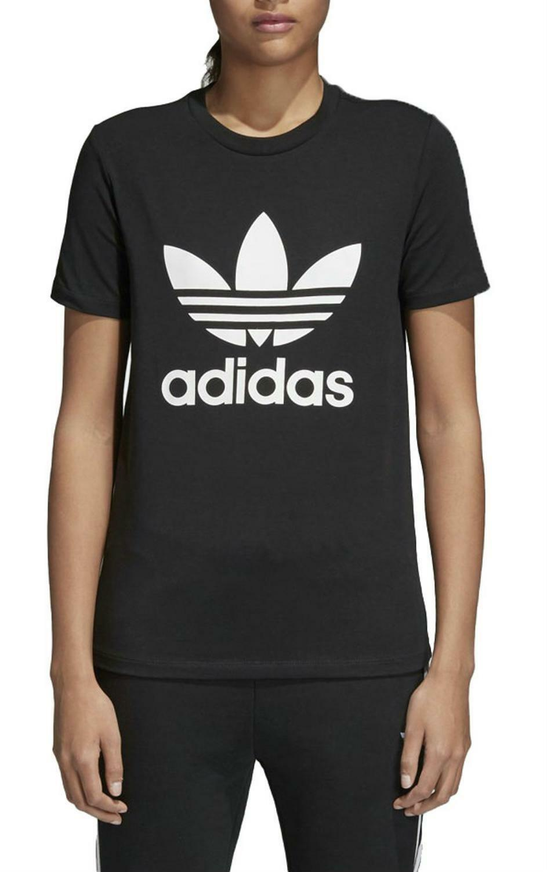 Adidas originals trefoil tee t-shirt donna nera