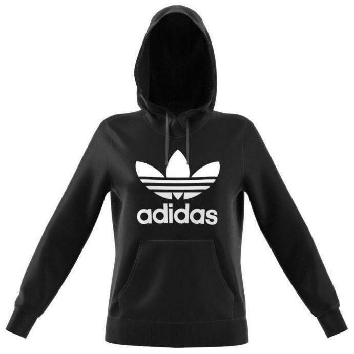 adidas trf logo hoodie felpa donna cappuccio nera