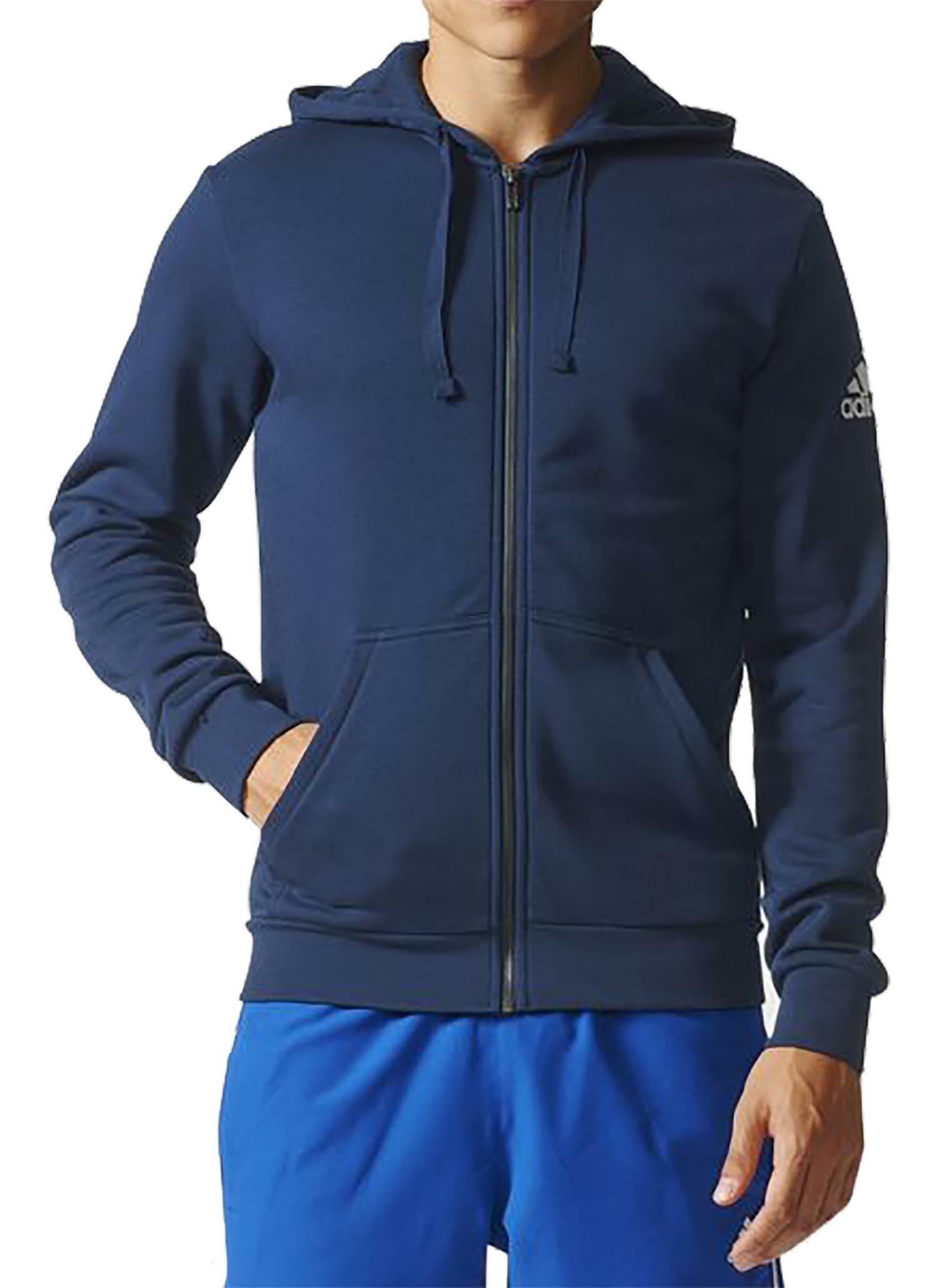 adidas adidas ess base fz slb giacchetto uomo blu felpato bk3718