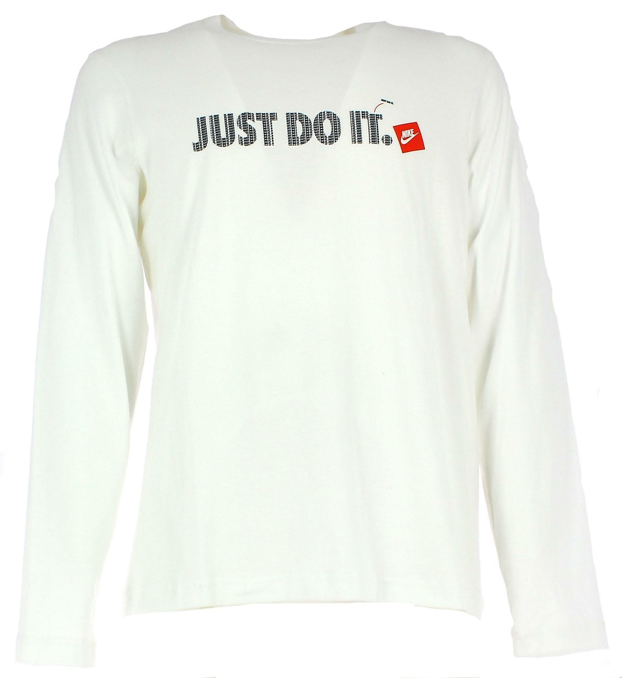 Nike t shirt manica lunga uomo bianca cotone