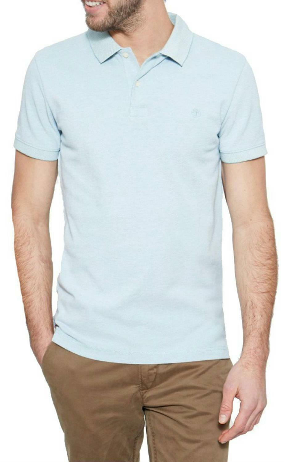 timberland timberland ss solid oxford polo piquet uomo celeste