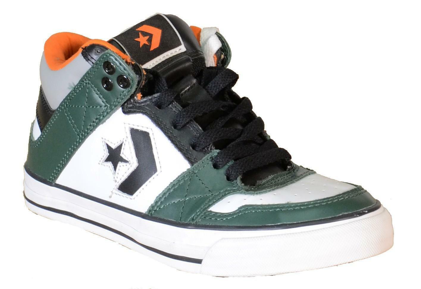 converse converse pro mid scarpe sportive bianche verdi pelle 121369