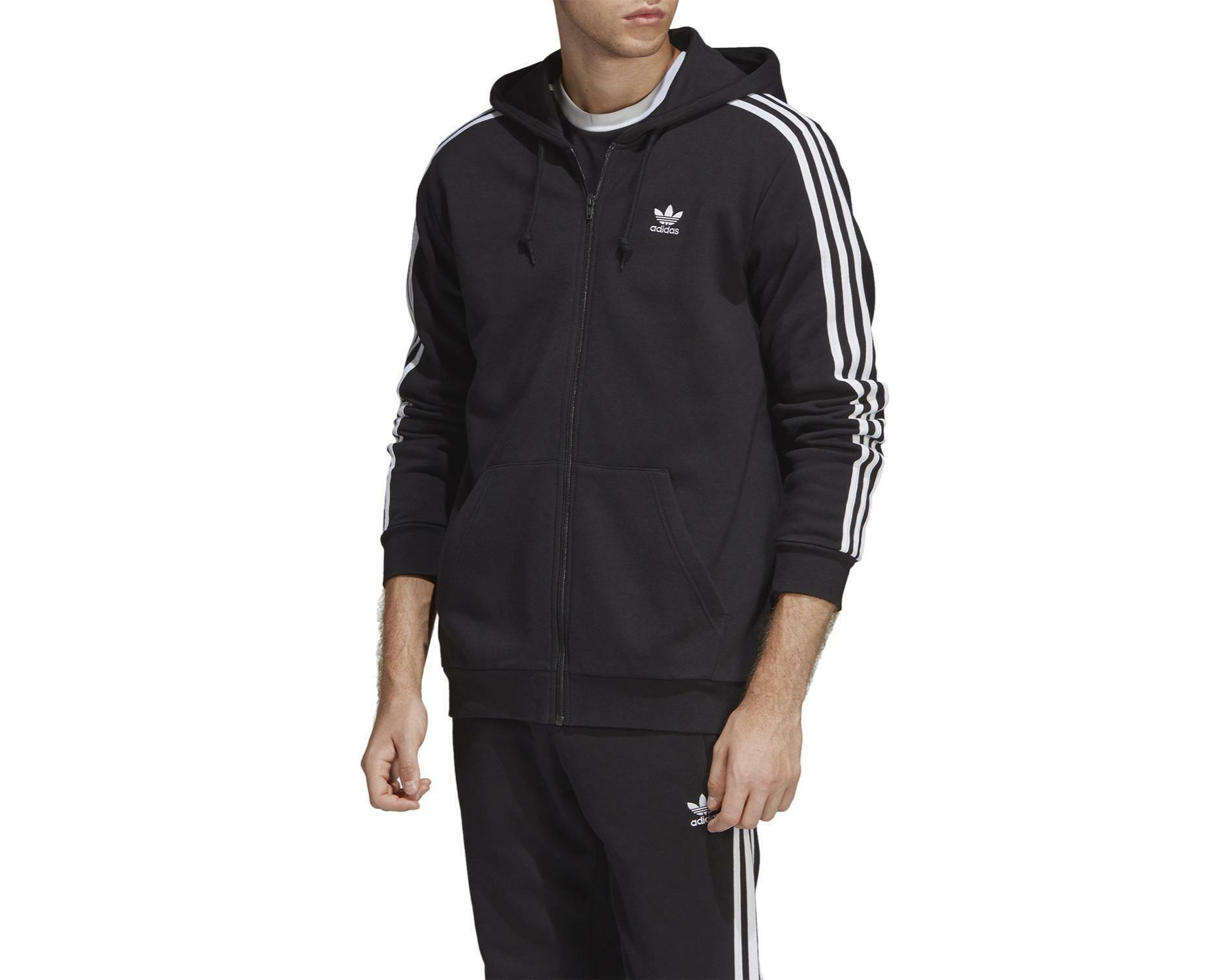 best loved 9e29c bf020 Adidas 3 stripes fz felpa con cappuccio zip uomo nera felpata dv1551