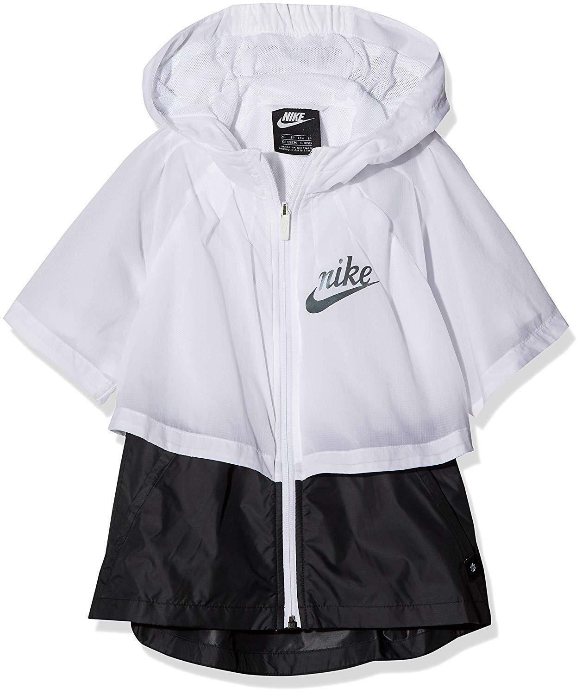 nike nike giacchetto con cappuccio bambina bianco aq9708100