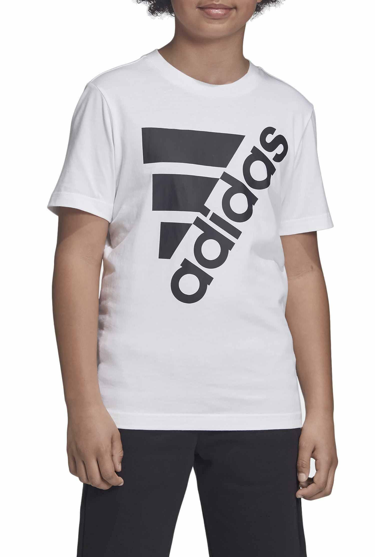 adidas yb mh bos t2 t-shirt bambino bianca