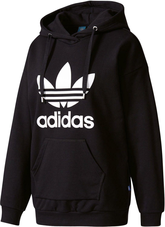 adidas adidas original trefoil hoodie felpa donna nera