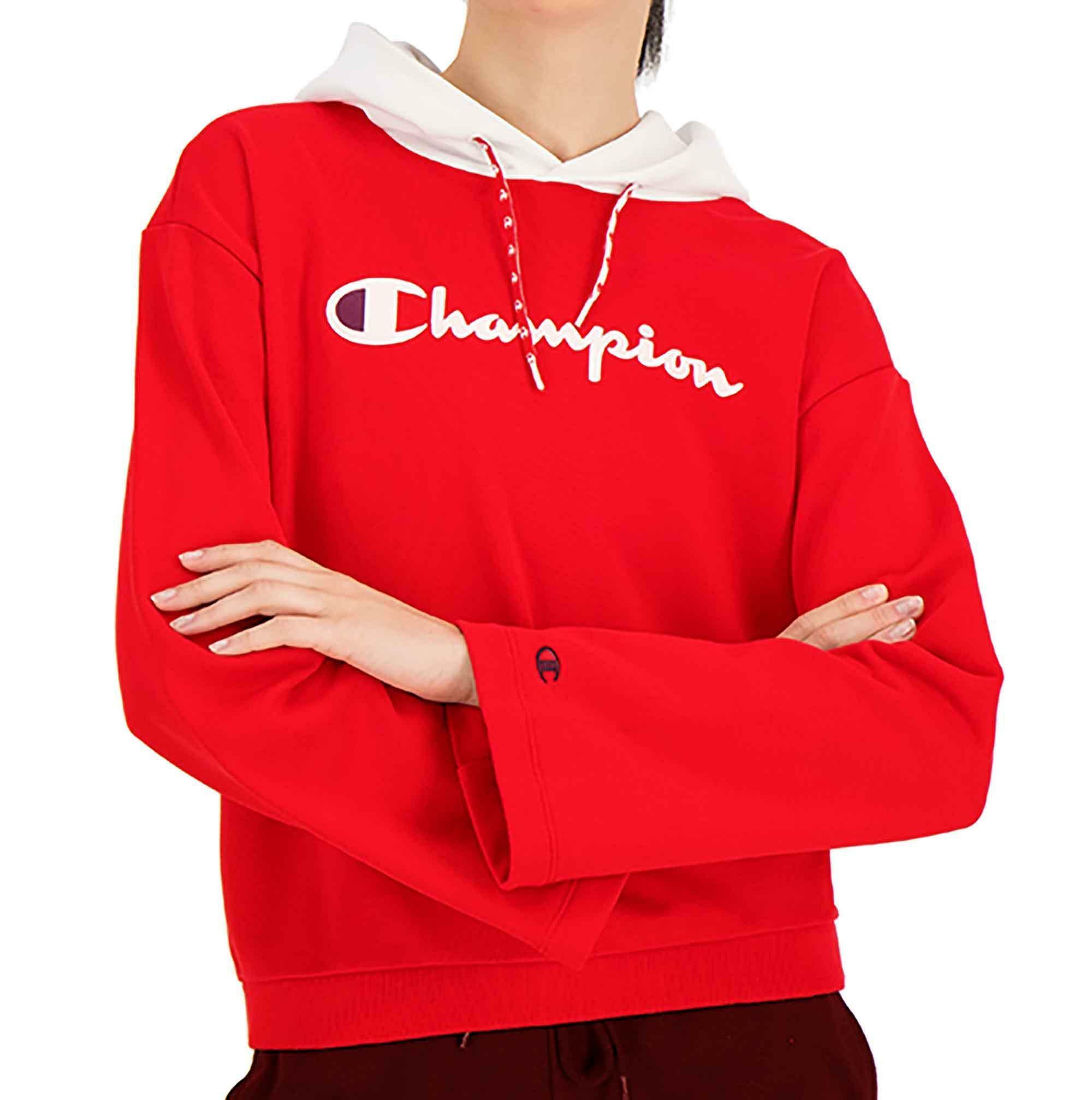 1741809a42db93 Champion felpa con cappuccio donna rossa 111299rs010