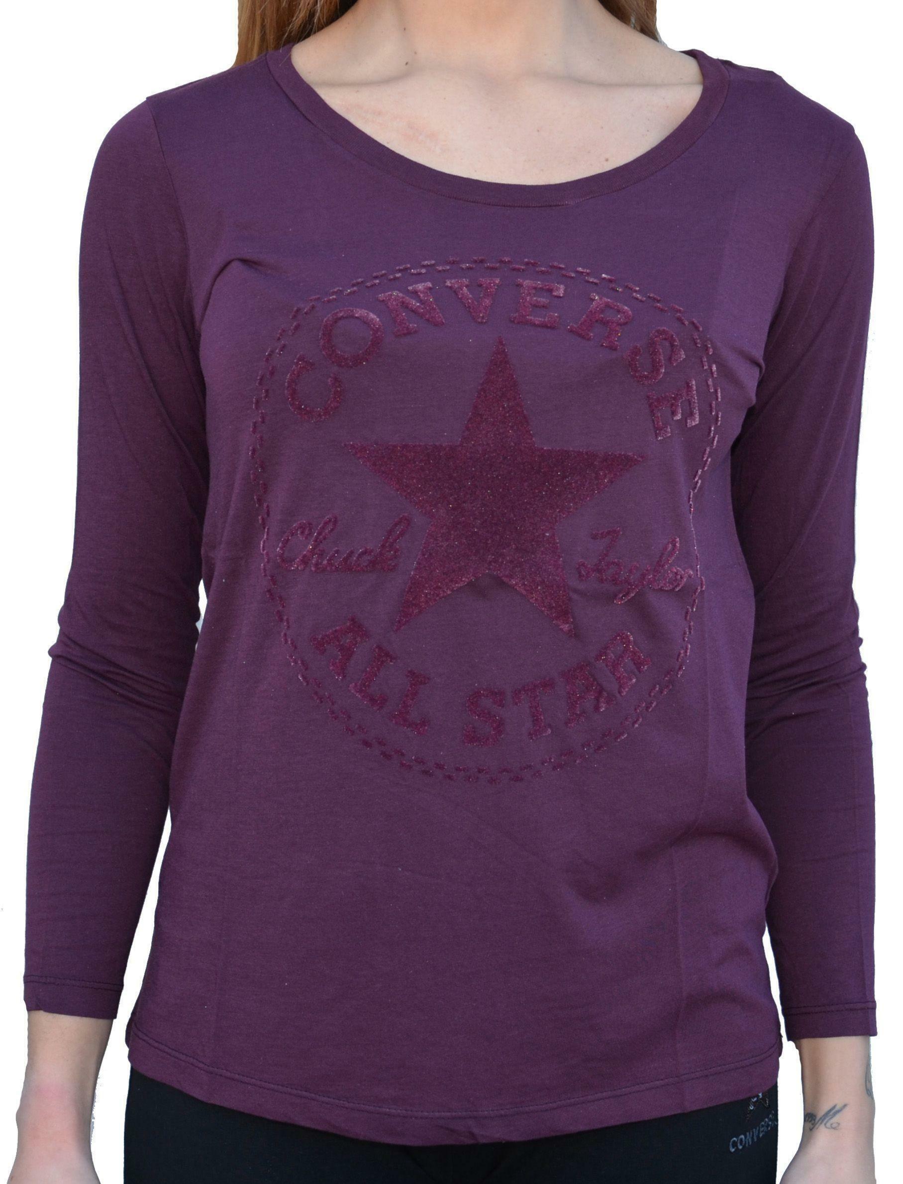 converse converse t-shirt maniche lunghe donna viola
