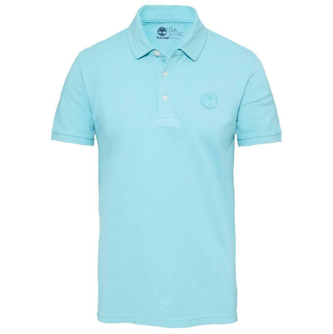 timberland timberland milford washed pique polo uomo celeste