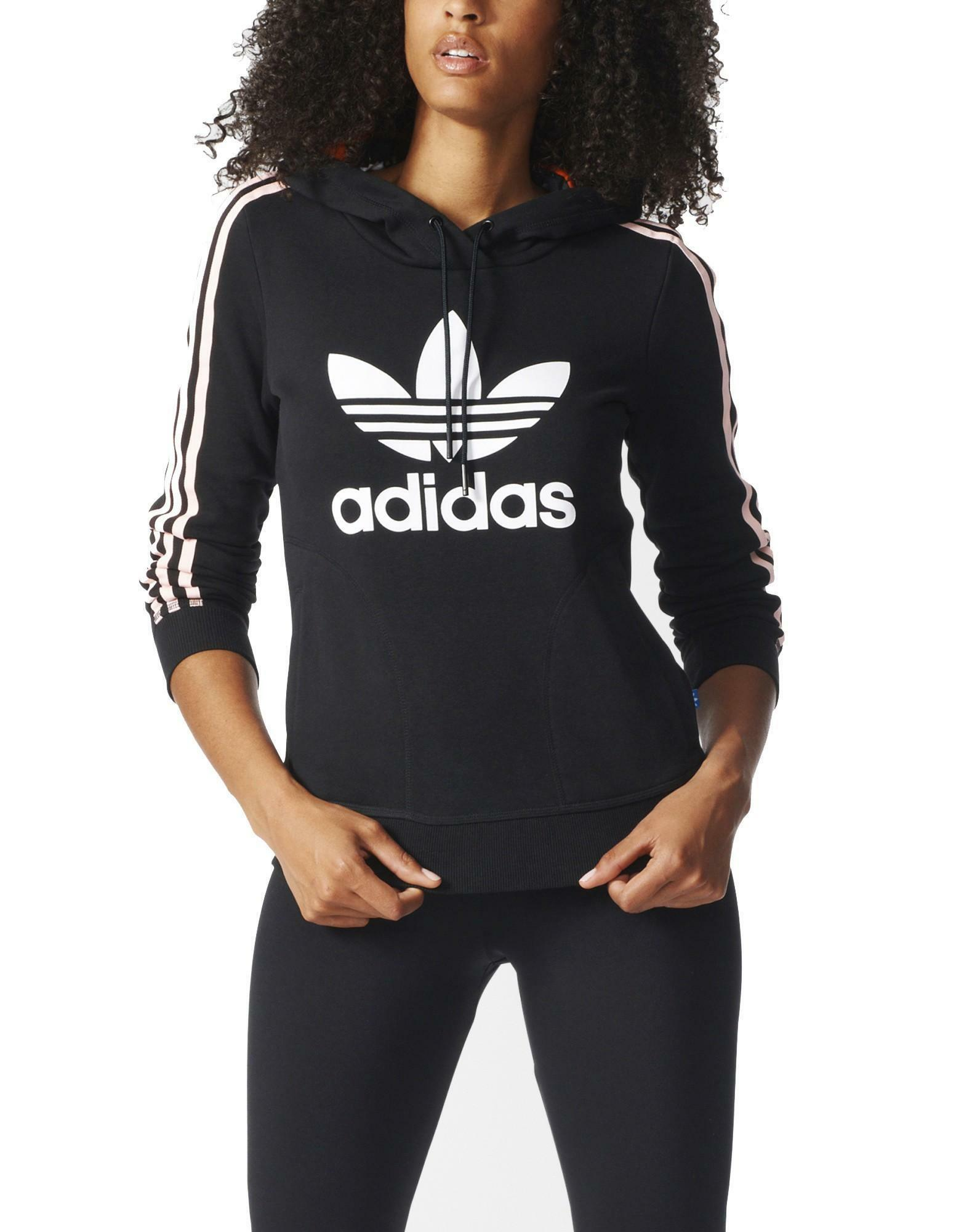 adidas adidas slim hoodie felpa donna nera