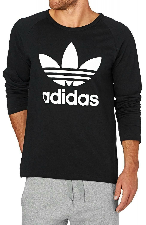 adidas adidas trefoil ls tee maglia uomo nera