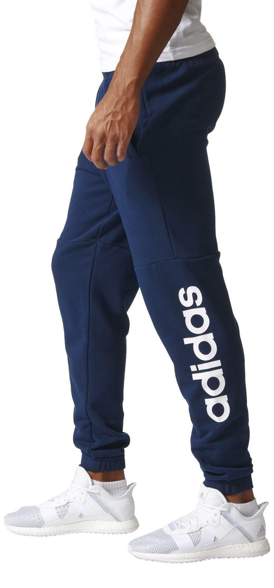 adidas adidas pantaloni uomo cotone garzato blu bq9089