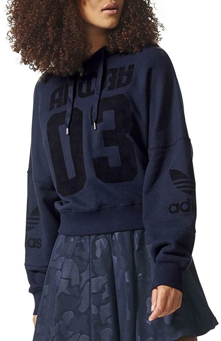adidas adidas originals hoodie felpa donna blu cotone felpato