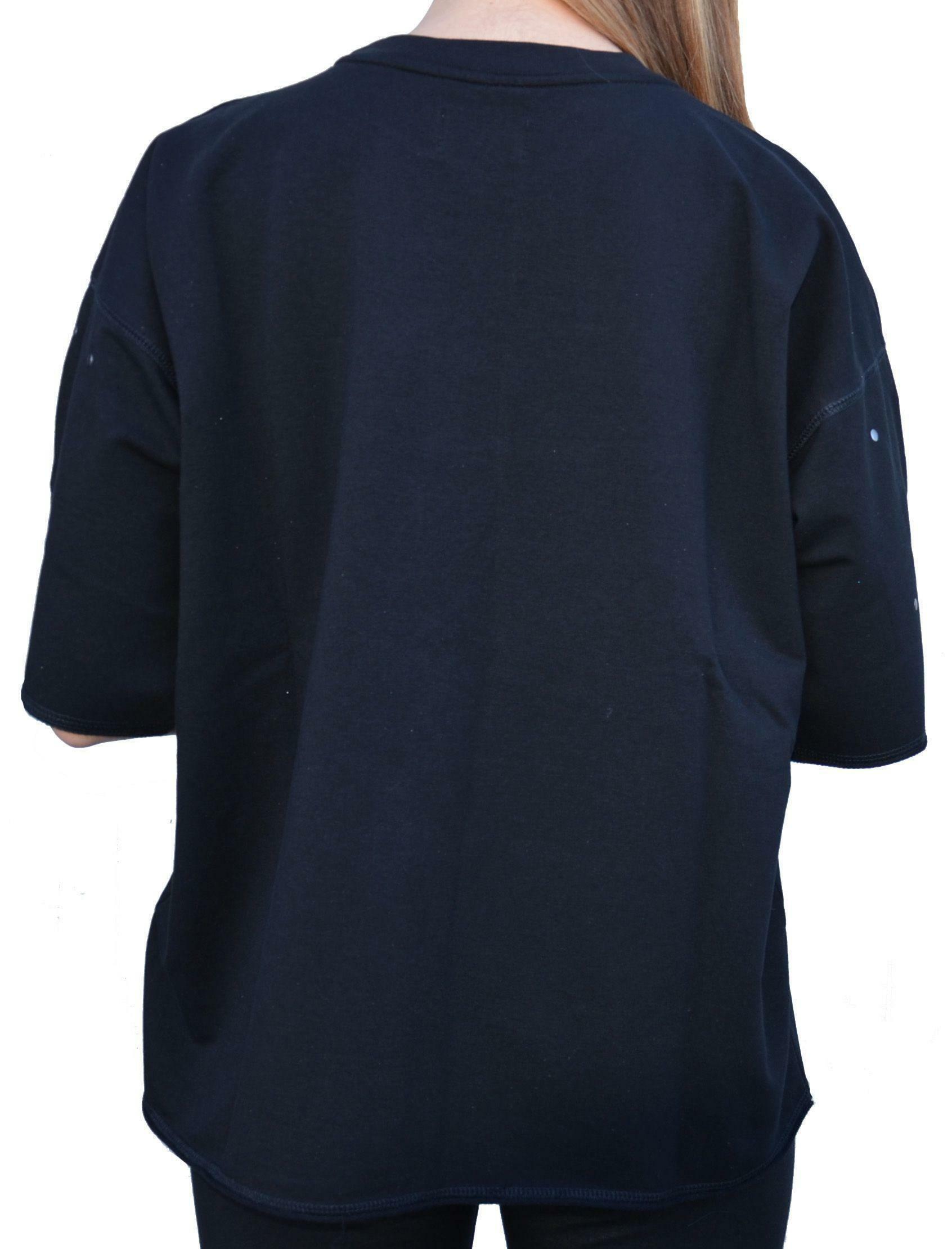 converse converse hoodie logo felpa maniche corte donna nera