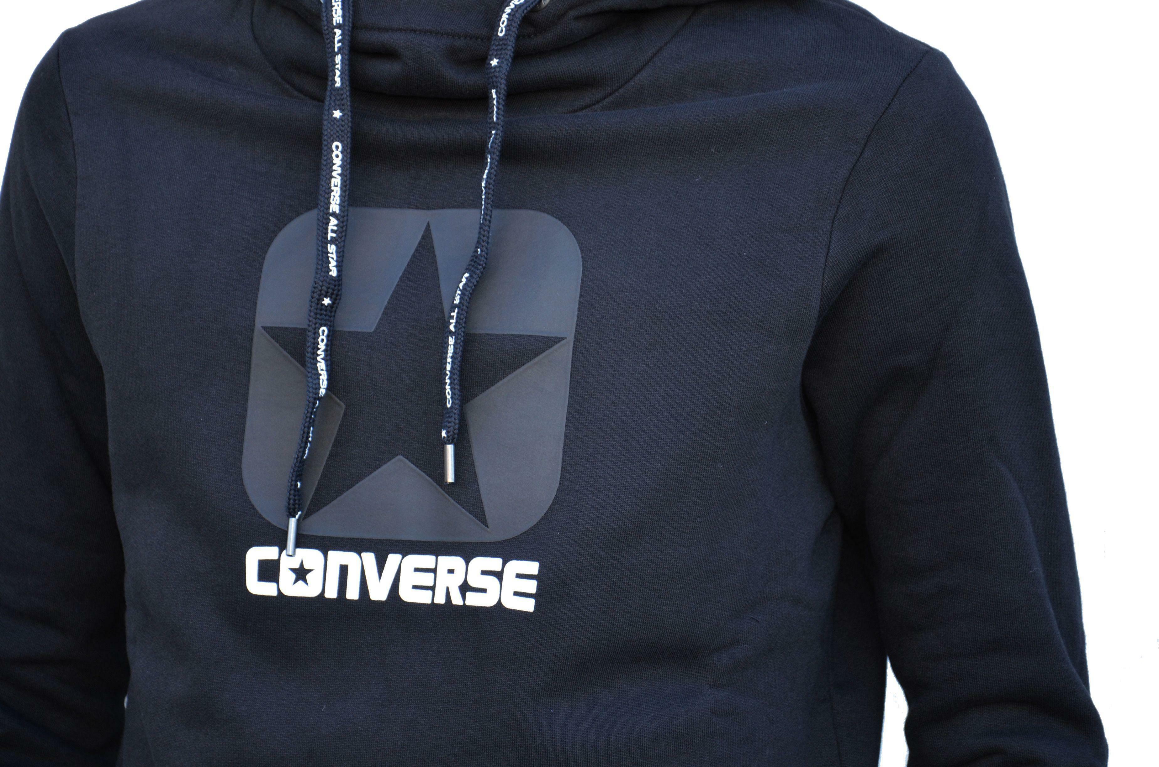 converse converse fleece hood felpa logo uomo nera
