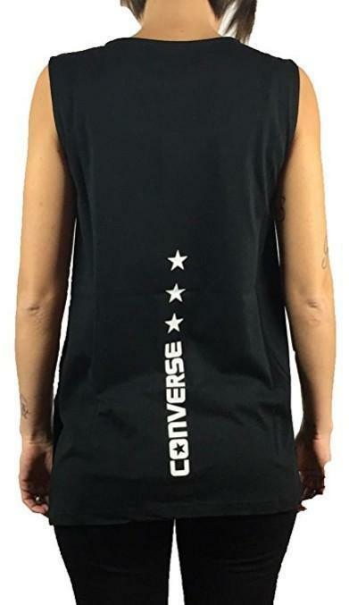 converse converse sleeveless canotta logo modern donna nera
