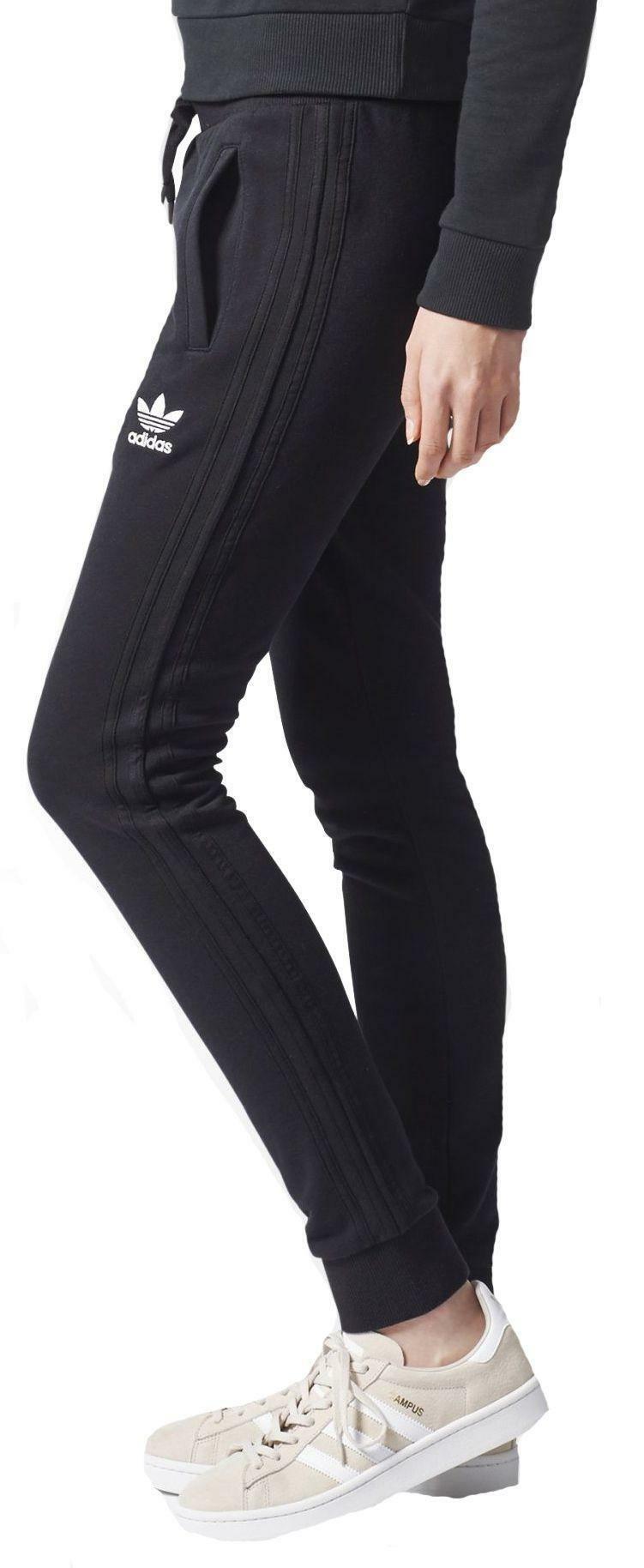 adidas adidas slim tp cuf pantaloni tuta donna neri