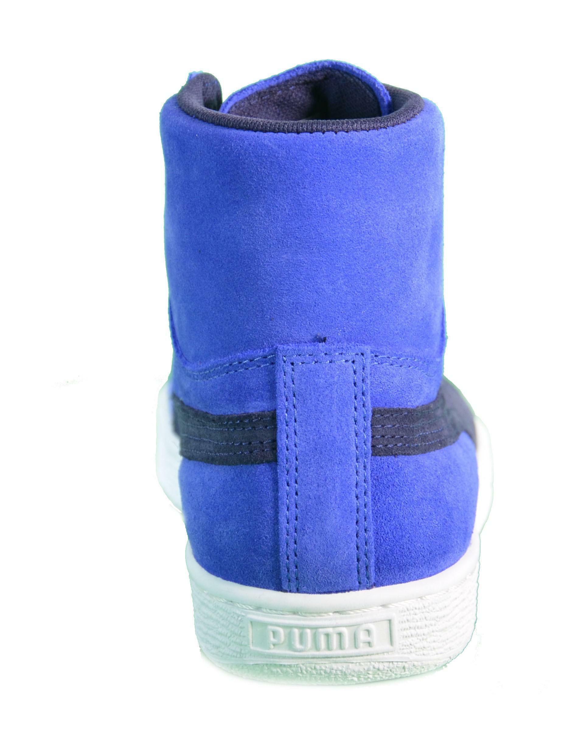 puma puma suede mid wmn's scarpe donna blu pelle 355460