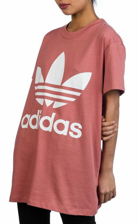adidas adidas big trefoil tee t-shirt lunga donna rosa ce2439